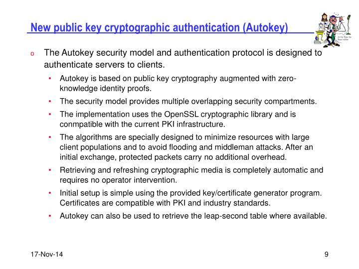New public key cryptographic authentication (Autokey)