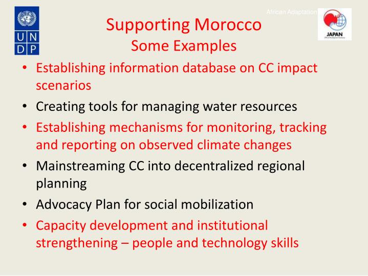 Supporting Morocco