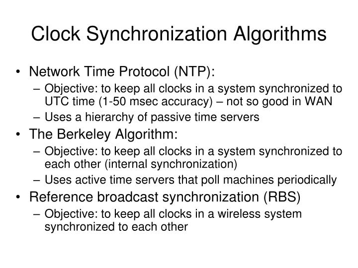 Clock Synchronization Algorithms
