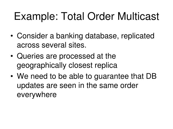 Example: Total Order Multicast