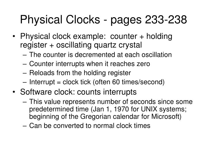 Physical Clocks - pages 233-238