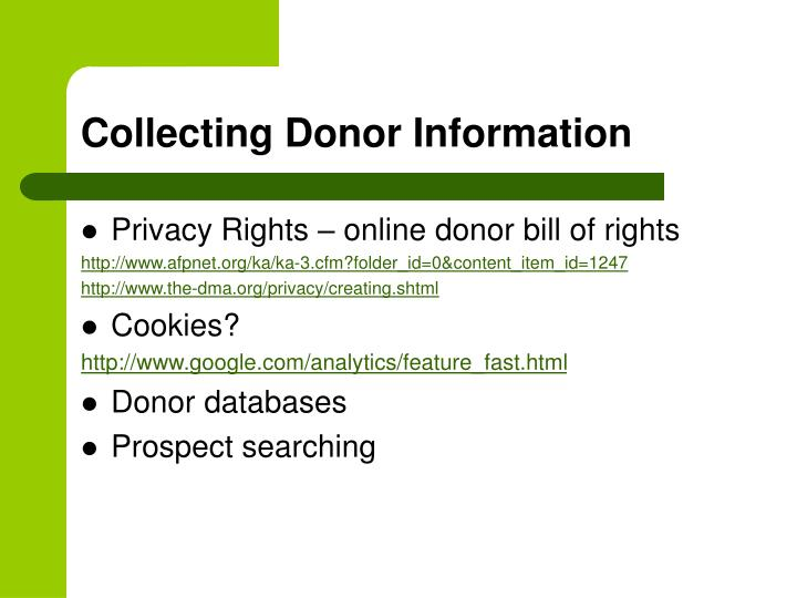 Collecting Donor Information