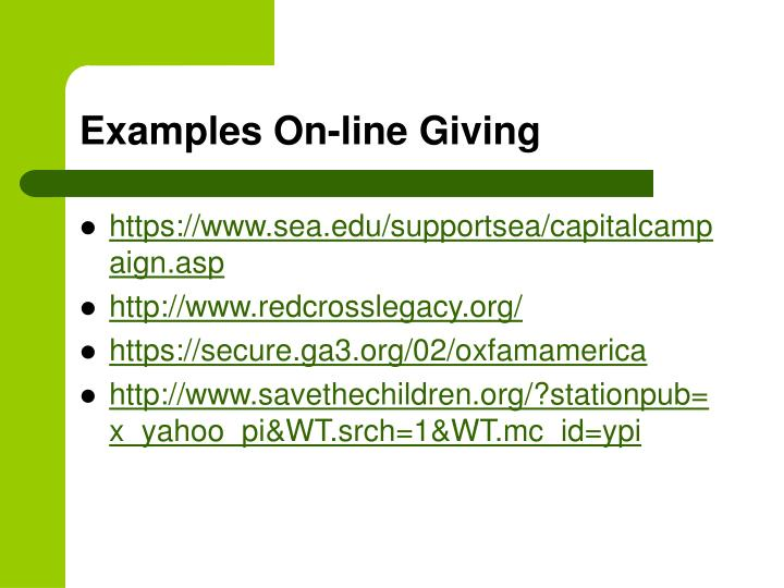 Examples On-line Giving