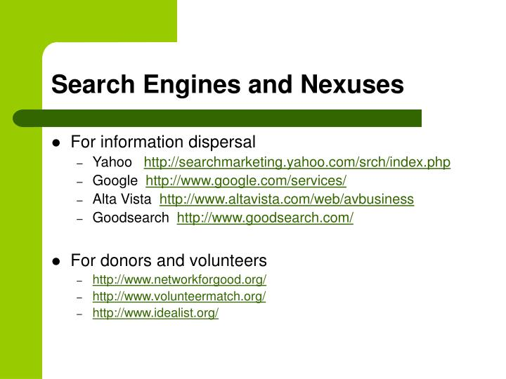 Search Engines and Nexuses