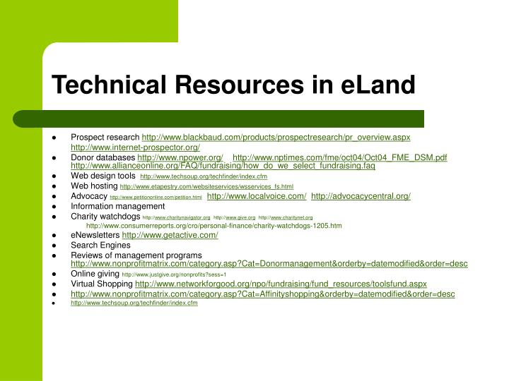 Technical Resources in eLand