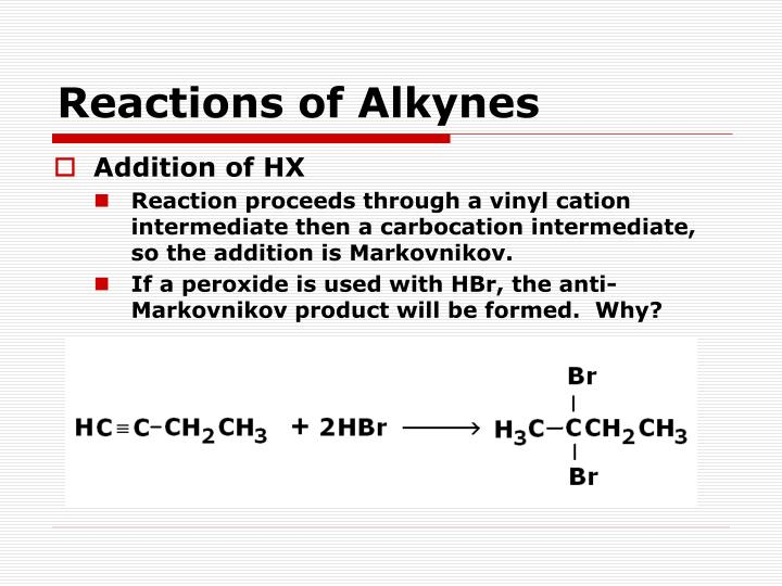 Reactions of Alkynes