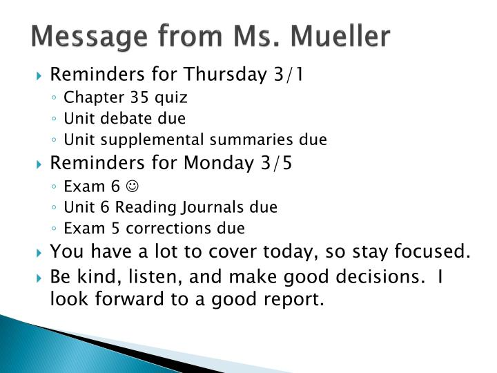 Message from Ms. Mueller