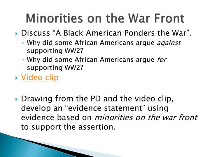 Minorities on the War Front