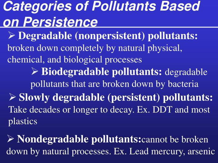 Categories of Pollutants Based on Persistence