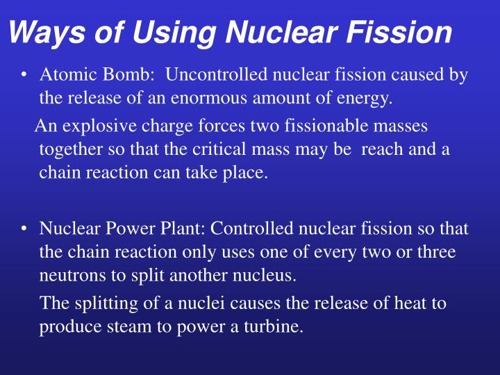 Ways of Using Nuclear Fission