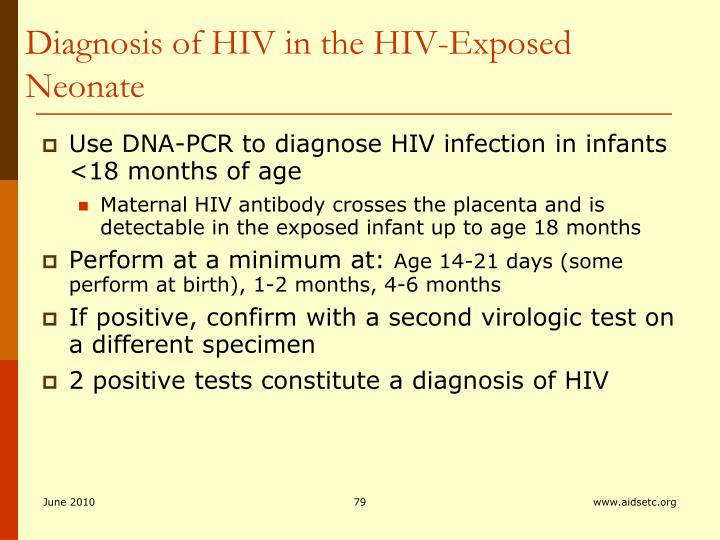 Diagnosis of HIV in the HIV-Exposed Neonate
