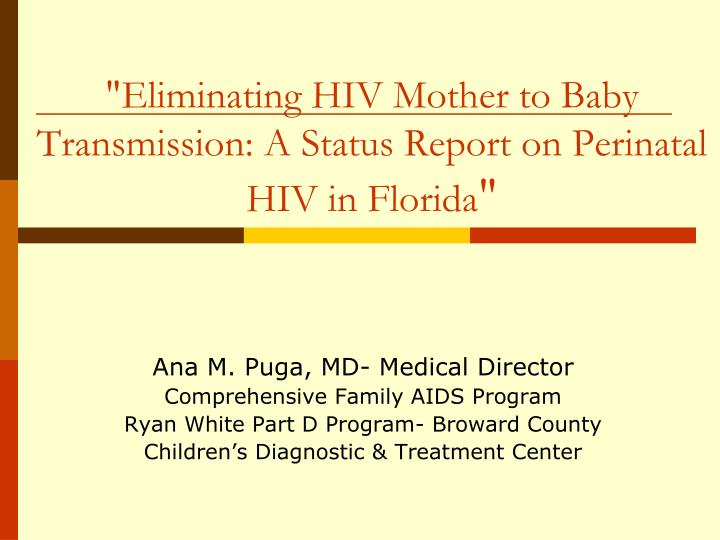 """""""Eliminating HIV Mother to Baby Transmission:A Status Report on Perinatal HIV in Florida"""