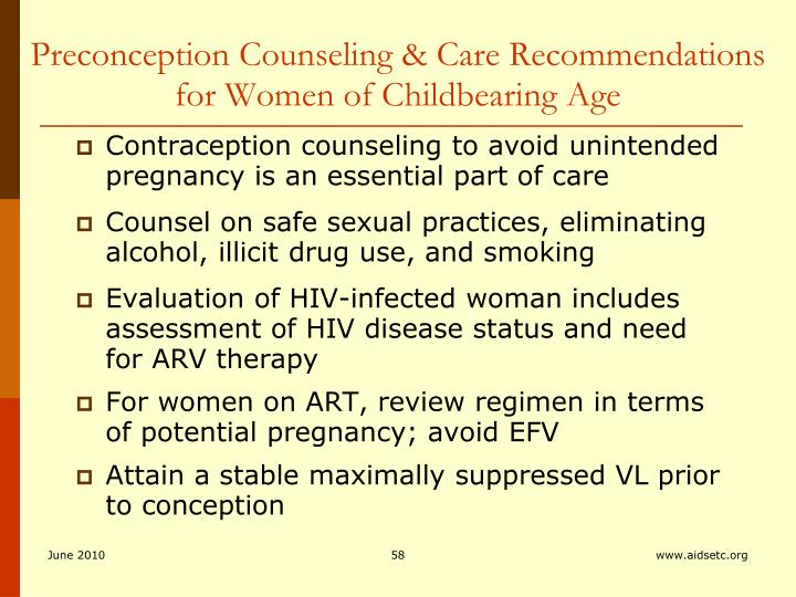 Preconception Counseling & Care Recommendations for Women of Childbearing Age