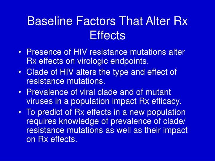 Baseline Factors That Alter Rx Effects