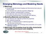 emerging metrology and modeling needs