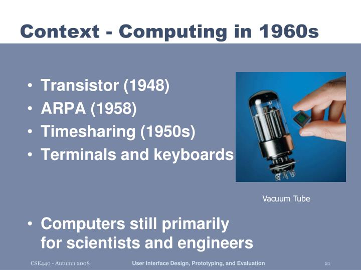 Context - Computing in 1960s
