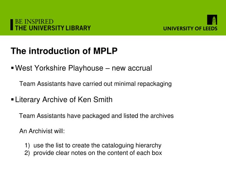 The introduction of MPLP