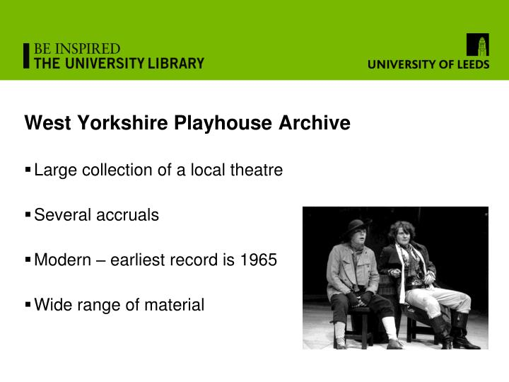 West Yorkshire Playhouse Archive