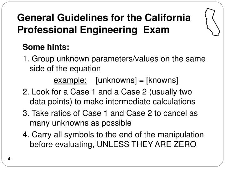 General Guidelines for the California Professional Engineering  Exam
