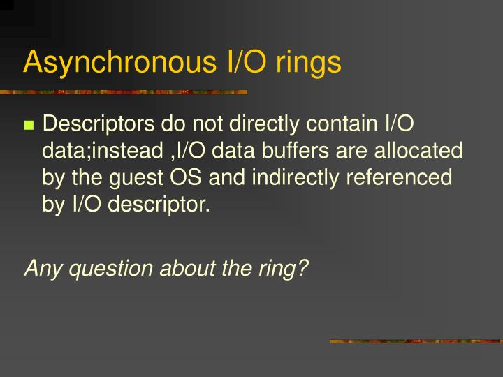 Asynchronous I/O rings
