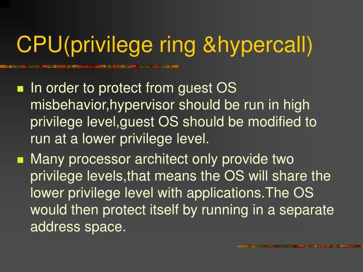 CPU(privilege ring &hypercall)