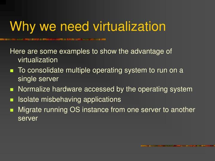 Why we need virtualization