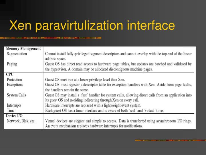 Xen paravirtulization interface