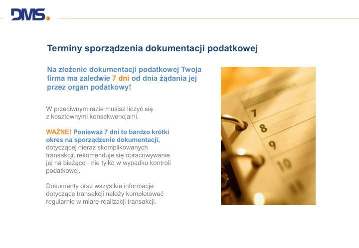 Terminy sporządzenia dokumentacji podatkowej