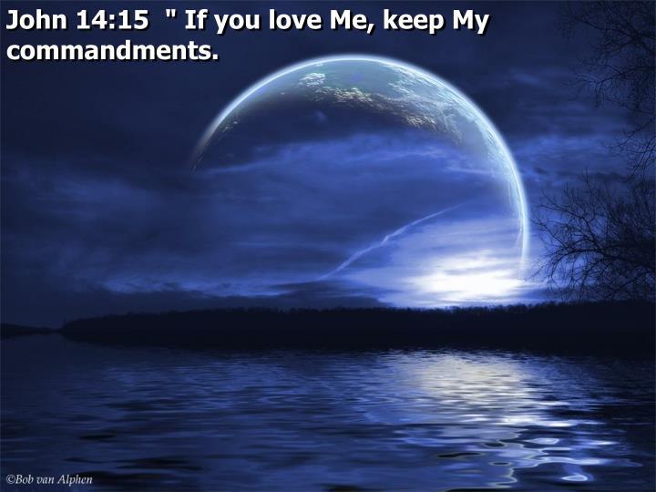 "John 14:15  "" If you love Me, keep My commandments."