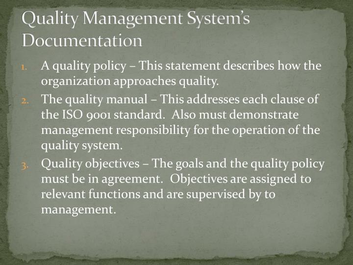 Quality Management System's Documentation