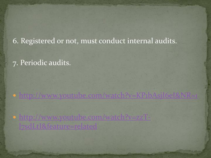 6. Registered or not, must conduct internal audits.