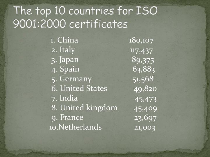 The top 10 countries for ISO 9001:2000 certificates