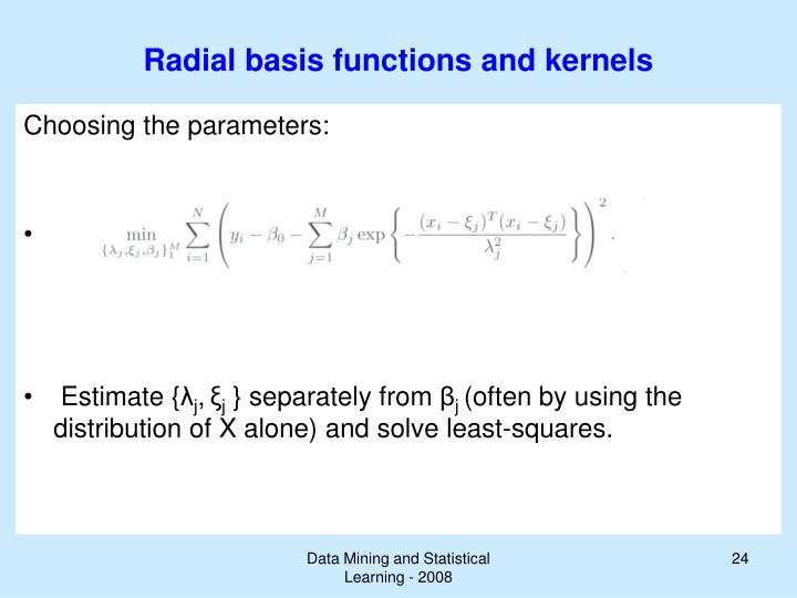 Radial basis functions and kernels
