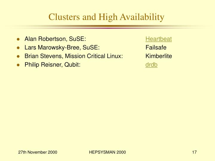 Clusters and High Availability