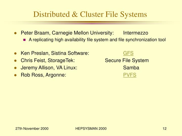 Distributed & Cluster File Systems