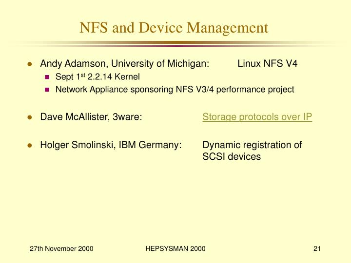 NFS and Device Management