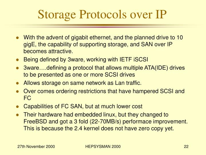 Storage Protocols over IP