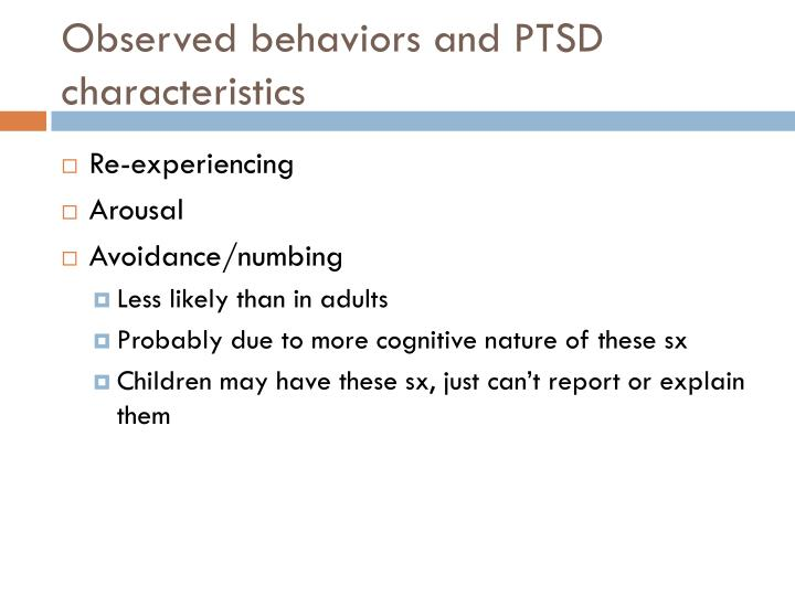 Observed behaviors and PTSD characteristics
