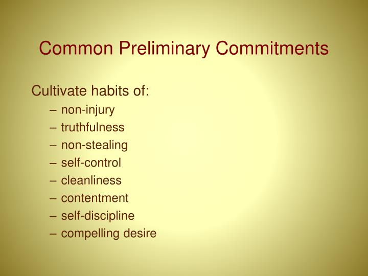 Common Preliminary Commitments