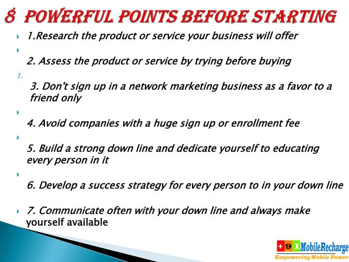 8  Powerful points before starting