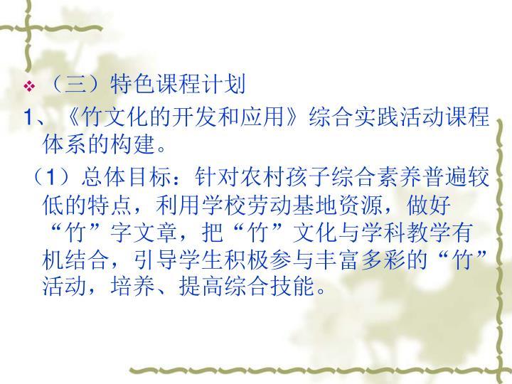 (三)特色课程计划