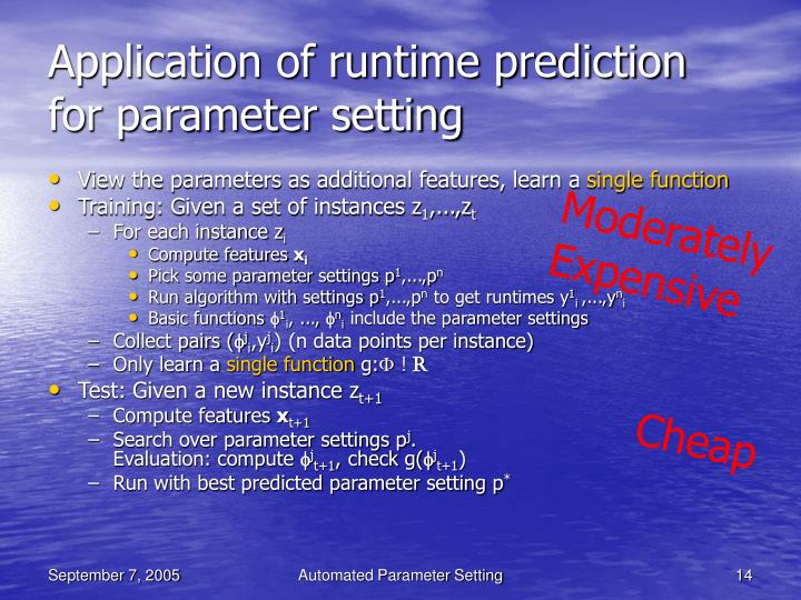 Application of runtime prediction for parameter setting