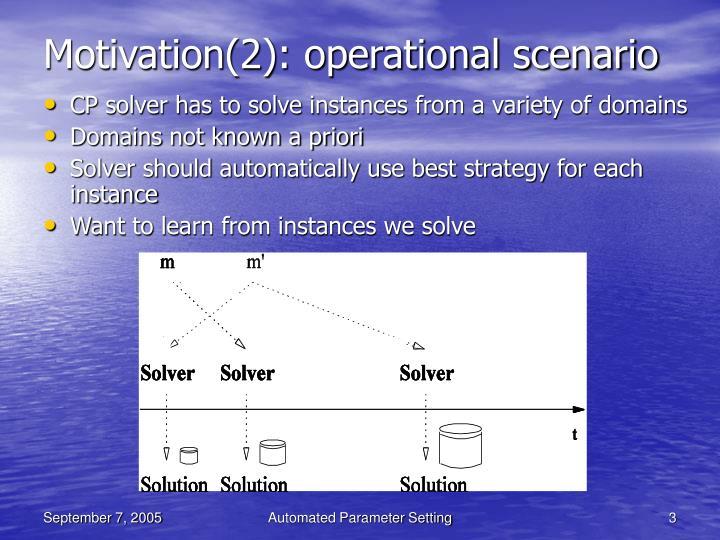 Motivation(2): operational scenario