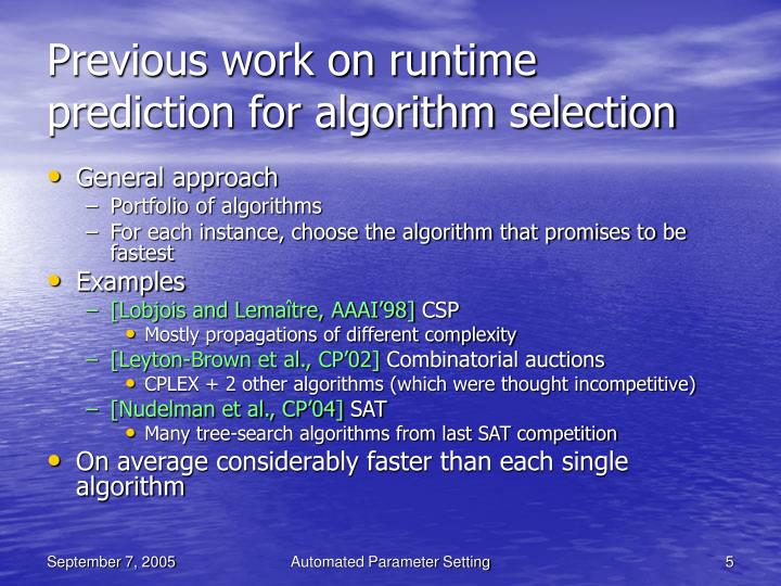 Previous work on runtime prediction for algorithm selection