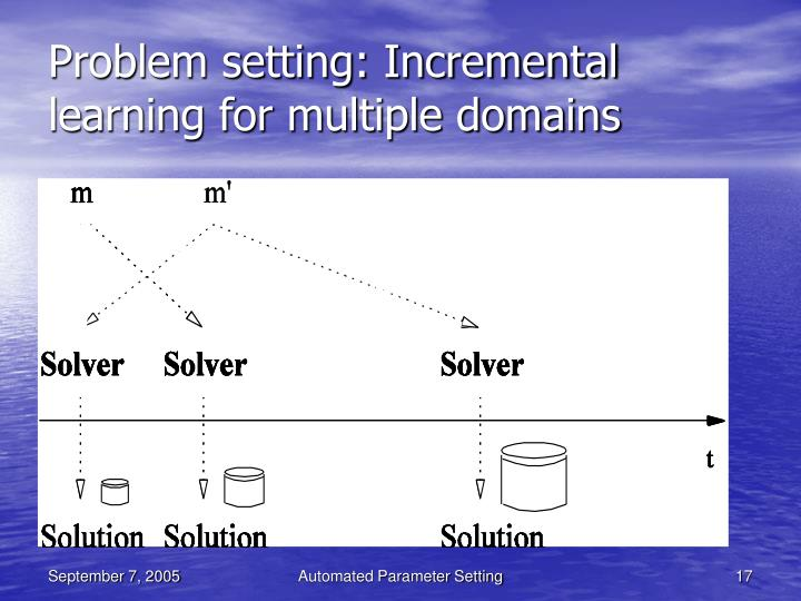 Problem setting: Incremental learning for multiple domains
