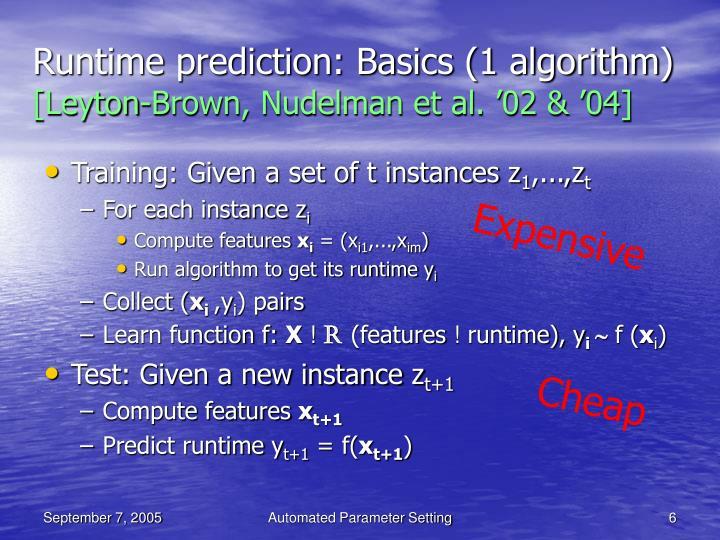 Runtime prediction: Basics (1 algorithm)