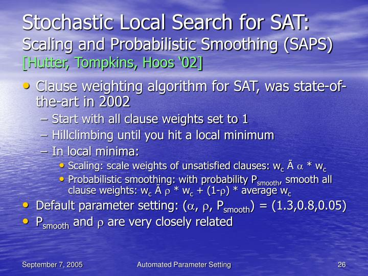 Stochastic Local Search for SAT: