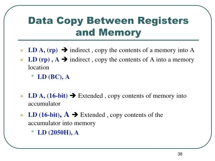 Data Copy Between Registers and Memory