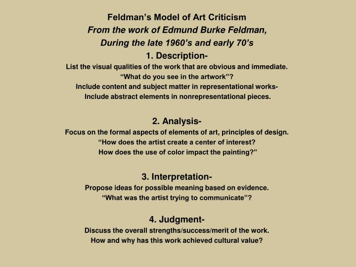 Feldman's Model of Art Criticism