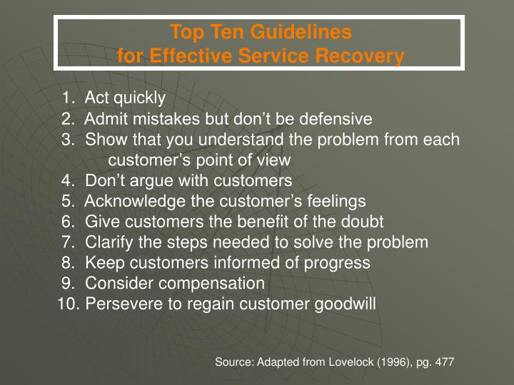 Top Ten Guidelines                                             for Effective Service Recovery